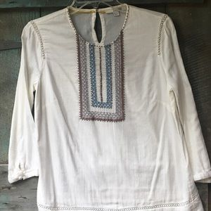 Boden Cream Colored Embroidered Top